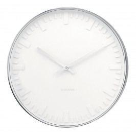 Karlsson Nástěnné hodiny Mr. White Station, bílá barva, stříbrná barva, sklo, kov