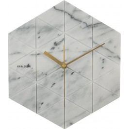 Karlsson Mramorové hodiny Hexagon White, šedá barva, bílá barva, zlatá barva, mramor