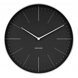 Karlsson Nástěnné hodiny Normann Black, černá barva, stříbrná barva, sklo, kov