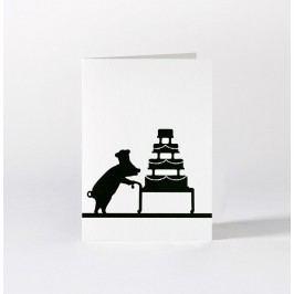 HAM Dárkové přání s čuníkem Cake Baking, černá barva, papír