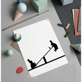 HAM Sítotisk s králíky na houpačce Seesawing Rabbit 30 x 40 cm, černá barva, papír
