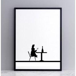 HAM Sítotisk s králíkem degustujícím víno Wine Tasting Rabbit 30 x 40 cm, černá barva, papír