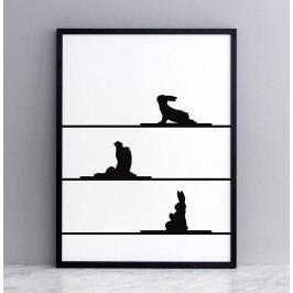 HAM Sítotisk s králíky cvičícími jógu Yoga Rabbit 30 x 40 cm, černá barva, papír