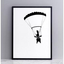 HAM Sítotisk s králíkem s padákem Parachuting Rabbit 30 x 40 cm, černá barva, papír