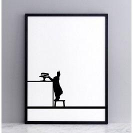 HAM Sítotisk s králíkem a dortem Cake Loving 30 x 40 cm, černá barva, papír