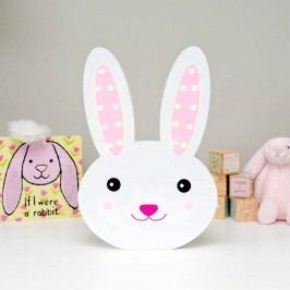 Smiling Faces Svítící LED králíček, bílá barva, dřevo