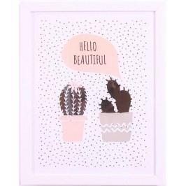 La finesse Obrázek v rámu Cactus 35x28 cm, bílá barva, plast, papír