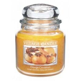 VILLAGE CANDLE Svíčka ve skle Orange Cinnamon - střední, oranžová barva, sklo, vosk