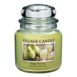 VILLAGE CANDLE Svíčka ve skle Ginger Pear Fizz - střední, zelená barva, sklo, vosk