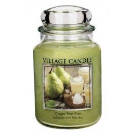 VILLAGE CANDLE Svíčka ve skle Ginger Pear Fizz - velká, zelená barva, sklo, vosk