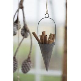 IB LAURSEN Závěsný kornout na dekorace - šedý 10cm, šedá barva, zinek