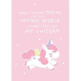 A Little Lovely Company Pohlednice Fantasy Unicorn, růžová barva, papír