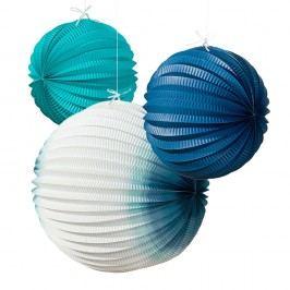 Talking Tables Dekorativní papírové lampiony Coastal - set 3 ks, modrá barva, papír