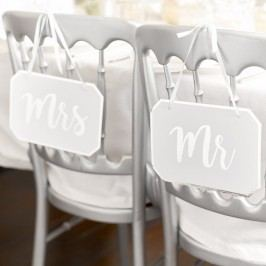 Talking Tables Závěsná dekorativní cedulka MR, bílá barva, stříbrná barva, papír