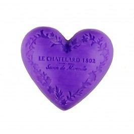 LE CHATELARD Mýdlo Heart - levandule 100gr, fialová barva
