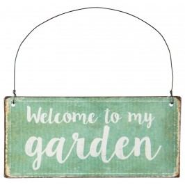 IB LAURSEN Závěsná plechová cedulka Garden, zelená barva, kov
