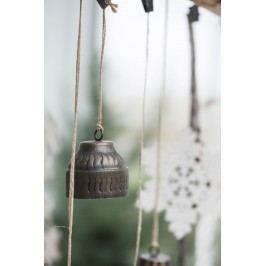 IB LAURSEN Dekorativní zvoneček Bell wavy, hnědá barva, přírodní barva, kov