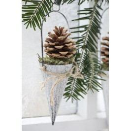 IB LAURSEN Závěsný kornout na dekorace - bílý 10cm, bílá barva, zinek