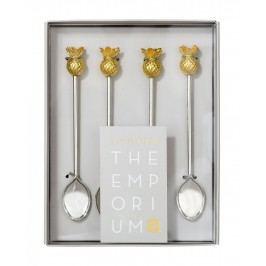 Talking Tables Lžičky do kafe Emporium Pineapple - set 4ks, zlatá barva, stříbrná barva, kov