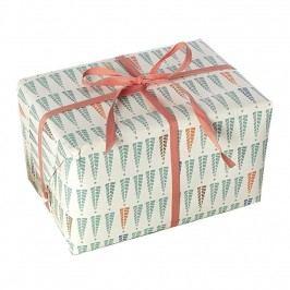 Maileg Balící papír Christmas Trees - 10 m, zelená barva, krémová barva, papír