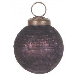 IB LAURSEN Vánoční mini ozdoba Aubergine pattern, fialová barva, sklo