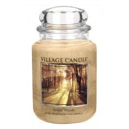 VILLAGE CANDLE Svíčka ve skle Amber Woods - velká, béžová barva, sklo, vosk