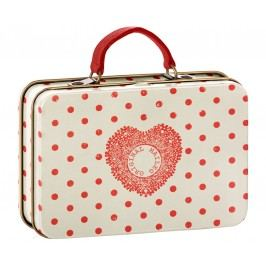 Maileg Plechový kufřík Cream Coral Dots, červená barva, krémová barva, kov