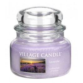 VILLAGE CANDLE Svíčka ve skle Levandule - malá, fialová barva, sklo
