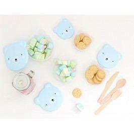 A Little Lovely Company Krabička na svačinu Blue Bear - set 4 ks, modrá barva, plast