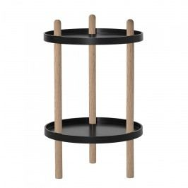Bloomingville Stolek s poličkami Black, černá barva, přírodní barva, dřevo