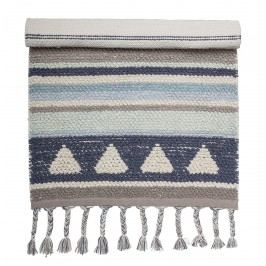 Bloomingville Bavlněný kobereček Blue 60x90cm, modrá barva, textil