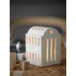 KÄHLER Lucerna domeček Urbania Light house 10,6 cm, bílá barva, keramika