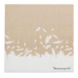 Bloomingville Papírové ubrousky Nature, béžová barva, bílá barva, papír