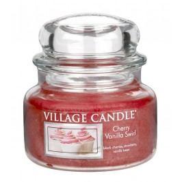 VILLAGE CANDLE Svíčka ve skle Třešně s vanilkovou zmrzlinou - malá, červená barva, sklo