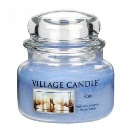 VILLAGE CANDLE Svíčka ve skle Rain - malá, modrá barva, sklo