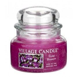 VILLAGE CANDLE Svíčka ve skle Violet blossom - malá, růžová barva, sklo