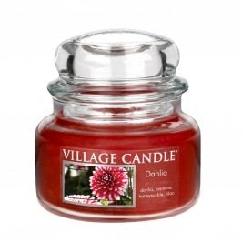 VILLAGE CANDLE Svíčka ve skle Dahlia - malá, červená barva, sklo