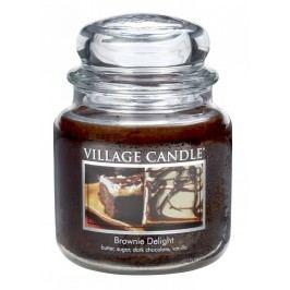 VILLAGE CANDLE Svíčka ve skle Brownie delight - střední, hnědá barva, sklo