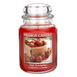 VILLAGE CANDLE Svíčka ve skle Fresh Strawberries - velká, červená barva, sklo