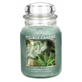 VILLAGE CANDLE Svíčka ve skle Eucalyptus Mint - velká, zelená barva, sklo
