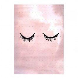 Bloomingville Plakát Rose Eyes 40x30cm, růžová barva, zlatá barva, papír