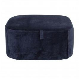 Bloomingville Semišový taburet Blue, modrá barva, textil