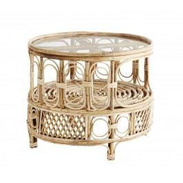 MADAM STOLTZ Kulatý odkládací stolek Bamboo, hnědá barva, sklo, dřevo