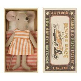 Maileg Myška v krabičce Big sister, oranžová barva, béžová barva, papír, textil
