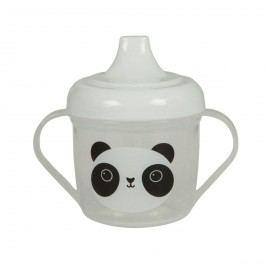 sass & belle Dětský hrníček s pítkem Panda Kawaii, bílá barva, čirá barva, plast