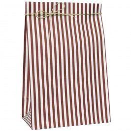 IB LAURSEN Papírový sáček Red Stripes L, červená barva, bílá barva, papír