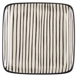 IB LAURSEN Mini tácek Casablanca black stripe, černá barva, krémová barva, keramika