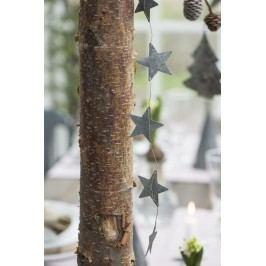 IB LAURSEN Girlanda se zinkovými hvězdičkami 120cm, šedá barva, zinek