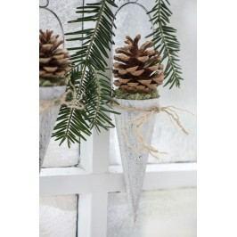 IB LAURSEN Závěsný kornout na dekorace - bílý 15cm, bílá barva, kov
