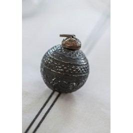 IB LAURSEN Vánoční mini ozdoba Black pattern, černá barva, sklo